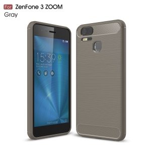 Carbon Fiber Texture Brushed TPU Mobile Phone Cover for Asus ZenFone 3 Zoom ZE553KL - Grey