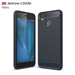 Carbon Fiber Texture Brushed TPU Back Case for Asus ZenFone 3 Zoom ZE553KL - Dark Blue