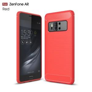 Carbon Fiber Texture Brushed TPU Mobile Phone Shell for Asus ZenFone AR-ZS571KL - Red