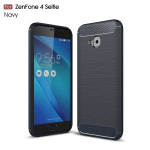 Carbon Fiber Texture Brushed TPU Cell Phone Casing for Asus Zenfone 4 Selfie Pro ZD552KL - Dark Blue