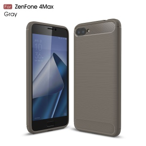Carbon Fiber Texture Brushed TPU Mobile Phone Cover for Asus Zenfone 4 Max Plus ZC554KL - Grey