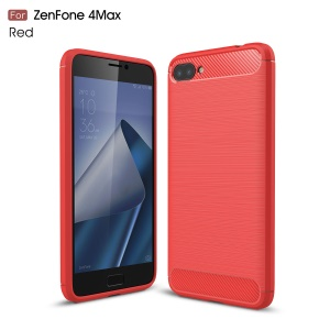Carbon Fiber Texture Brushed TPU Mobile Phone Shell for Asus Zenfone 4 Max Plus ZC554KL - Red