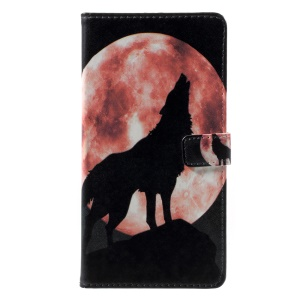 Pattern Printing PU Leather Case with Stand for Asus ZenFone 4 Max / 4 Max Pro / 4 Max Plus (ZC554KL) - Wolf Howling at the Moon