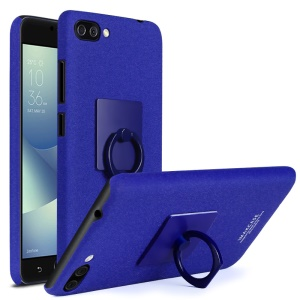 IMAK Finger Ring Holder Matte PC Case + Screen Protector for Asus Zenfone 4 Max /4 Max Pro /4 Max Plus ZC554KL - Blue