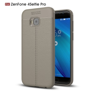 Litchi Grain Soft TPU Back Case for Asus Zenfone 4 Selfie Pro ZD552KL - Grey
