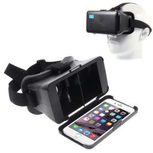 Cardboard Head Mount Virtual Reality 3D Video Glasses for 5.5-6.4 inch Smartphones, Tray Size: 16.5 x 8.4cm