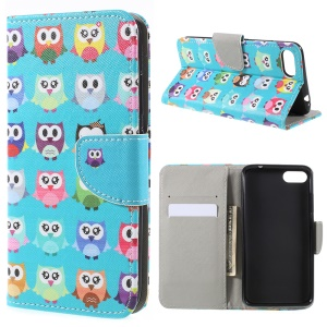 Patterned Leather Wallet Stand Phone Case for Asus ZenFone 4 Max /4 Max Pro /4 Max Plus (ZC554KL) - Owl