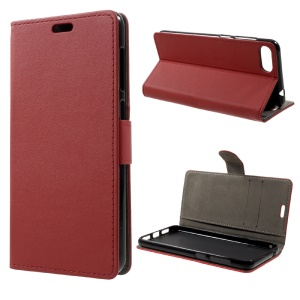 PU Leather Wallet Mobile Phone Case for Asus Zenfone 4 Max ZC520KL - Red
