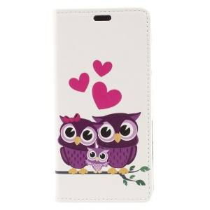 Pattern Printing PU Leather Wallet Stand Cell Phone Cover for Asus Zenfone 4 Max ZC520KL - Owl Family
