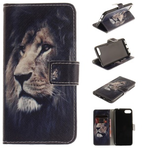 Pattern Printing Leather Wallet Cover for Asus Zenfone 4 MAX /4 Max Pro /4 Max Plus ZC554KL - Lion Pattern