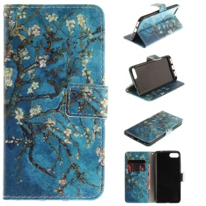Pattern Printing Leather Wallet Case Cover for Asus Zenfone 4 MAX /4 Max Pro /4 Max Plus ZC554KL - Tree with Flowers