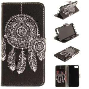 Pattern Printing Leather Wallet Cover Case for Asus Zenfone 4 MAX /4 Max Pro /4 Max Plus ZC554KL - Feather Dream Catcher