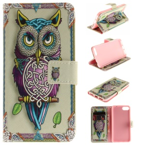 Pattern Printing Wallet Leather Stand Cover for Asus Zenfone 4 MAX /4 Max Pro /4 Max Plus ZC554KL - Owl Pattern