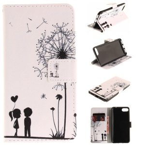 Pattern Printing Magnetic Leather Wallet Case for Asus Zenfone 4 MAX /4 Max Pro /4 Max Plus ZC554KL - Dandelion and Lovers