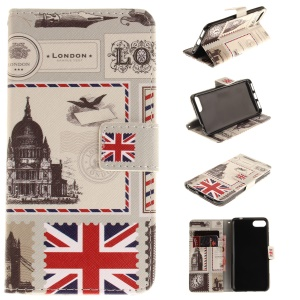 Pattern Printing Stand Leather Cell Phone Case for Asus Zenfone 4 MAX /4 Max Pro /4 Max Plus ZC554KL - UK Flag