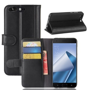 Genuine Split Leather Wallet Phone Case with Stand for Asus ZenFone 4 Pro (ZS551KL) - Black