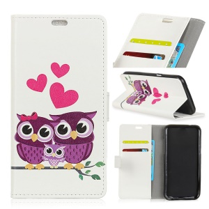Pattern Printing Leather Wallet Case for Asus Zenfone 4 Selfie ZD553KL - Owls and Hearts