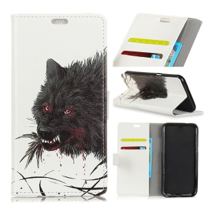 Pattern Printing Leather Wallet Case Cover for Asus Zenfone 4 Selfie ZD553KL - Black Wolf
