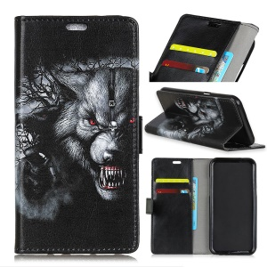 Pattern Printing Leather Wallet Case Phone Shell for Asus Zenfone 4 Selfie ZD553KL - Wolf Pattern