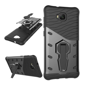Soft TPU + Plastic Combo Detachable Phone Casing with 360-degree Rotary Kickstand for Asus Zenfone 4 Selfie ZD553KL - Grey