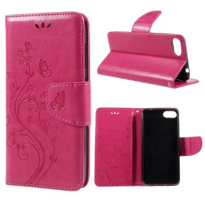 Imprint Butterfly Flower Leather Wallet Case for Asus Zenfone 4 Max ZC520KL - Rose