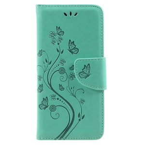 Imprint Butterfly Flower PU Leather Wallet Flip Protective Case for Asus Zenfone 4 Max ZC520KL - Cyan