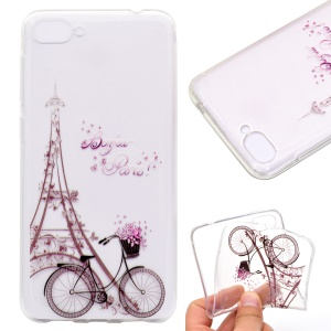 For Asus Zenfone 4 Max ZC520KL Pattern Printing Soft TPU Phone Accessory Cover - Tower and Bicycle