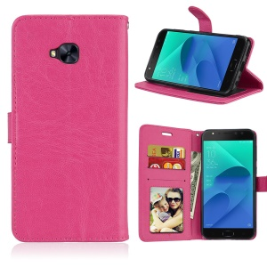Crazy Horse Magnetic Leather Stand Cover for Asus Zenfone 4 Selfie Pro ZD552KL - Rose