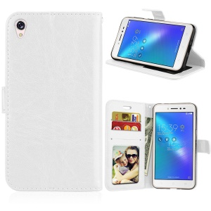 Crazy Horse Leather Wallet Cover for Asus Zenfone Live ZB501KL - White