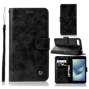 Retro PU Leather Magnetic Wallet Cover Shell for Asus Zenfone 4 Max ZC520KL - Black