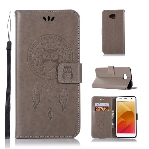 Imprint Owl Dream Catcher Pattern PU Leather Wallet Mobile Phone Protective Casing for Asus Zenfone 4 Selfie ZD553KL/ 4 Selfie ZB553KL/ 4 Selfie Lite ZB553KL - Grey