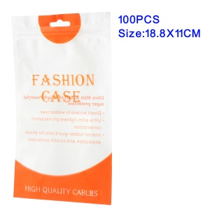 100Pcs/Lot Zip Lock Plastic Retail Packaging Bag for iPhone X/8/8 Plus Cases, Inner Size: 18.8 x 11cm
