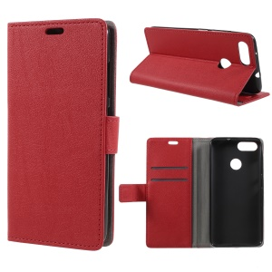 Leather Wallet Stand Phone Cover for Asus ZenFone Max Plus (M1) ZB570TL - Red