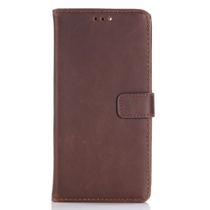 Retro Style Crazy Horse Grain Wallet Leather Case Accessory with Stand for Asus ZenFone Max Plus (M1) ZB570TL - Coffee
