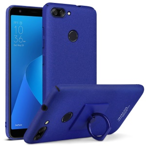 IMAK Cowboy Shell Ring Grip Stent PC Phone Shell + Screen Film for Asus ZenFone Max Plus (M1) ZB570TL - Blue