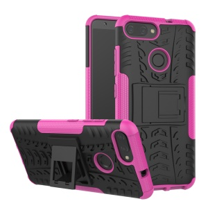 Tyre Pattern PC + TPU Hybrid Casing Shell with Kickstand for Asus ZenFone Max Plus (M1) ZB570TL - Rose