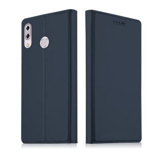 Card Holder Auto-absorbed Leather Cell Phone Casing with Stand for Asus Zenfone 5Z ZS620KL - Dark Blue