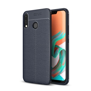 Litchi Texture TPU Protection Case for Asus Zenfone 5Z ZS620KL - Dark Blue