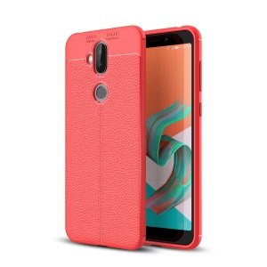 Litchi Texture TPU Shell Cover Case for Asus Zenfone 5 Lite ZC600KL - Red