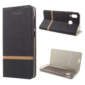 For Asus Zenfone Max (M1) ZB555KL Cross Pattern Bi-color Leather Cover Shell with Card Slot - Black
