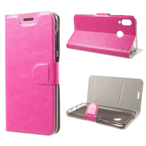 Crazy Horse Wallet Stand Leather Case (Built-in Steel Sheet) for Asus Zenfone Max (M1) ZB555KL - Rose
