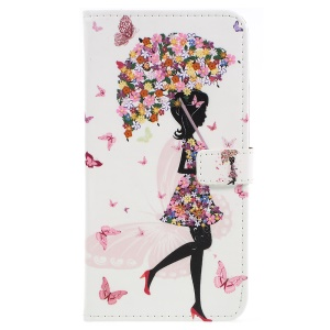 Flowered Girl Holding Umbrella