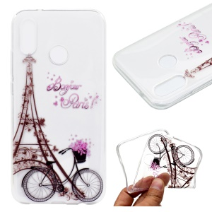 Pattern Printing Soft TPU Back Case for Asus Zenfone Max (M1) ZB555KL - Eiffel Tower and Bicycle
