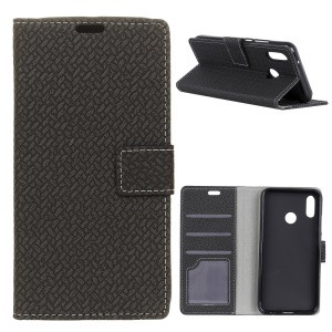 Woven Texture Wallet Magnetic Stand Leather Case for Asus Zenfone Max (M1) ZB555KL - Black
