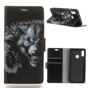 Pattern Printing Stand Leather Wallet Mobile Case for Asus Zenfone Max (M1) ZB555KL - Fierce Wolf