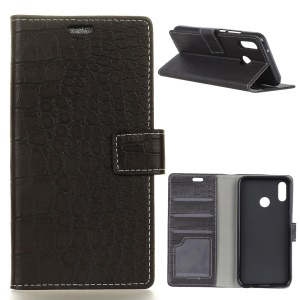 Crocodile Texture PU Leather Magnetic Stand Wallet Phone Case for Asus Zenfone Max (M1) ZB555KL - Black