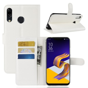 Litchi Skin PU Leather Wallet Cell Phone Cover for Asus Zenfone 5 ZE620KL - White