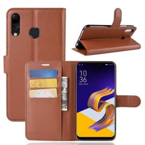 Litchi Texture  Stand Leather Magnetic Wallet Case Cover Shell for Asus Zenfone 5 ZE620KL - Brown