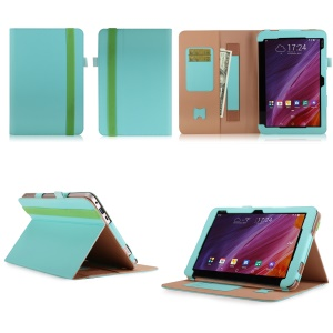 Folio PU Leather Stand Wallet Tablet Shell for ASUS TransBook Mini T103HAF and Keyboard - Cyan
