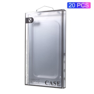 20Pcs/Lot Paper + Plastic Retail Package Packing Box for iPhone 8 /7 Cases - Silver Paper / Black Edge